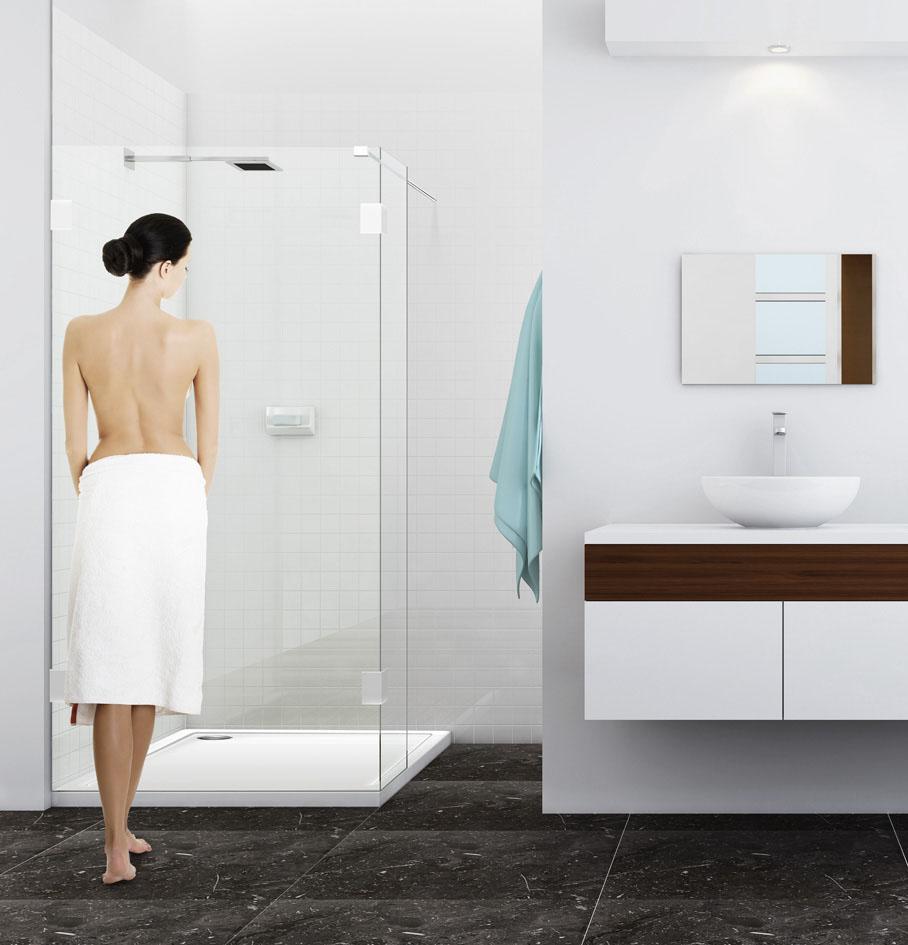 duschwand freistehend glas festteil ber eck awx. Black Bedroom Furniture Sets. Home Design Ideas